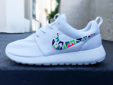 Custom Nike Roshe Run sneakers for women, Lime, purple, green, pink, tribal, triangle design, fashionable design
