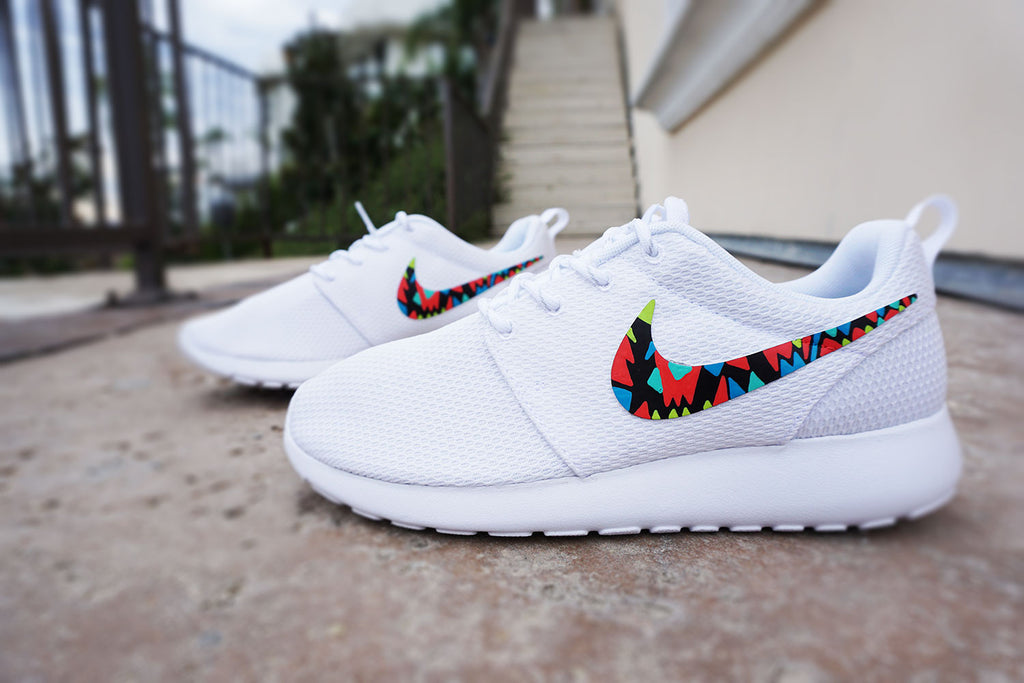 Womens custom Nike Roshe run, Tribal design, White with color, cute design,