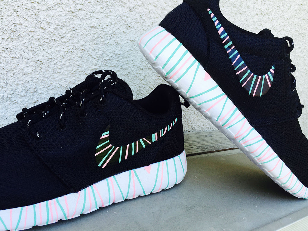 new style 429dd aed23 Womens Custom Nike Roshe Run sneakers, South Beach teal, Pink petals, Customized  sneakers