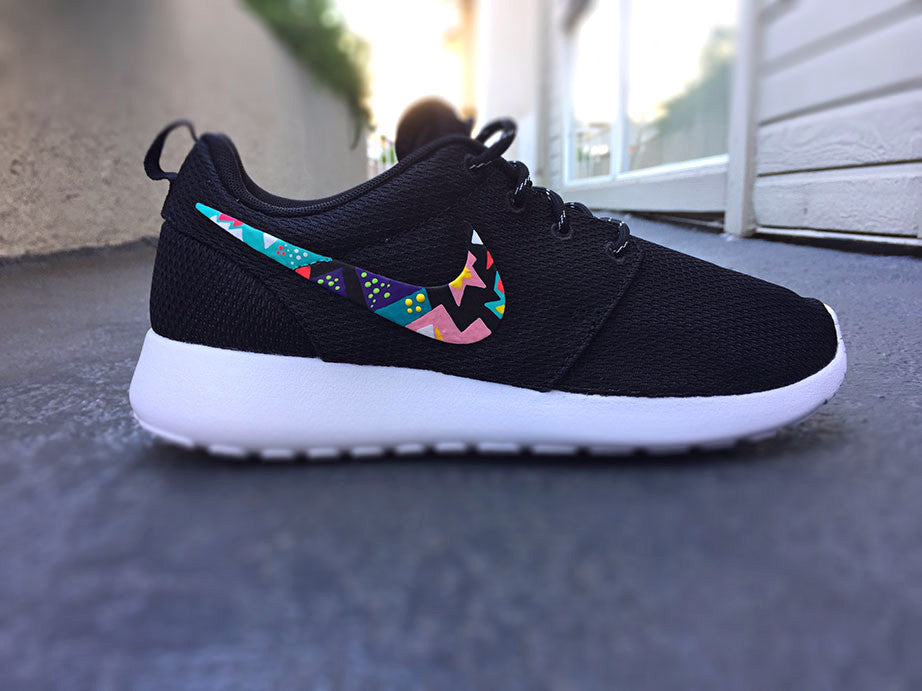 Womens Custom Nike Roshe Run sneakers,Teal and hot Pink, White, Aztec,Bubbles, tribal design, cute and trendy Fashionable design,