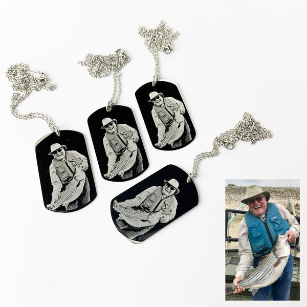Photo Engraved Necklace - 4 Pack