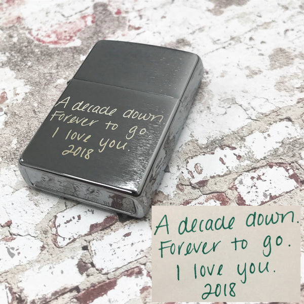 Handwritten Zippo Brushed Chrome Pocket Lighter