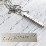 Handwritten Rectangle Bar Necklace