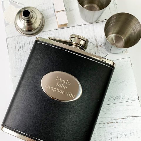 Black Leather Engraved Flask