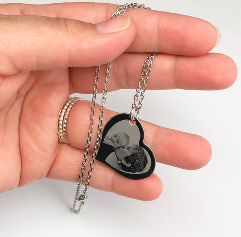 Custom Engraved Photo Heart Necklace