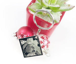 Custom Engraved Photo Square Keychain