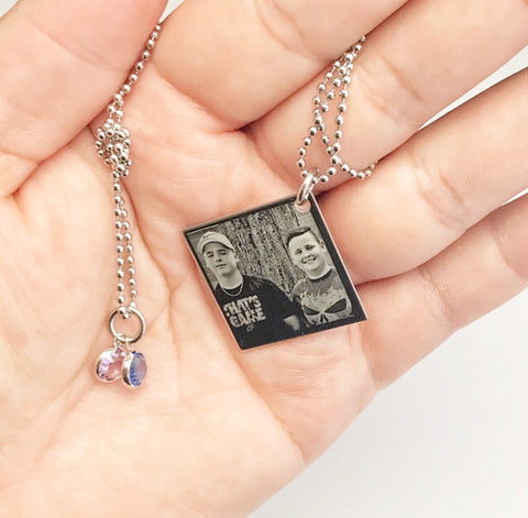 Custom Engraved Photo Square Necklace