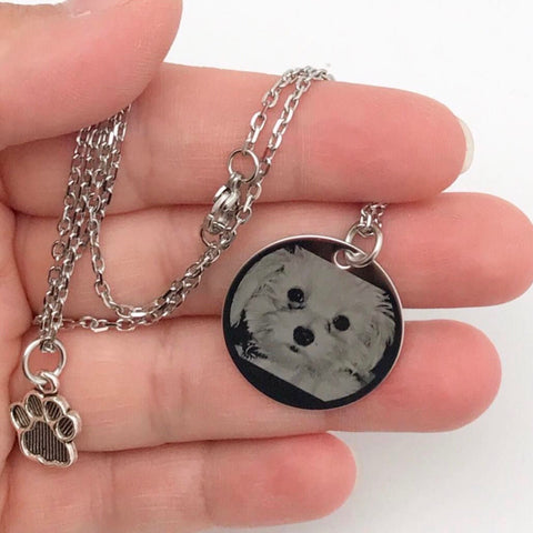 Custom Engraved Photo Round Necklace