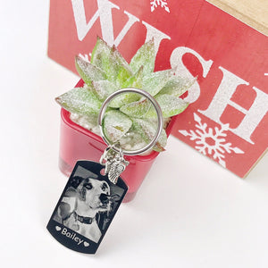 Double Sided Engraved Photo Keychain
