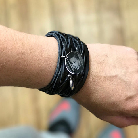 Unisex Black Engraved Vintage Leather Wristband