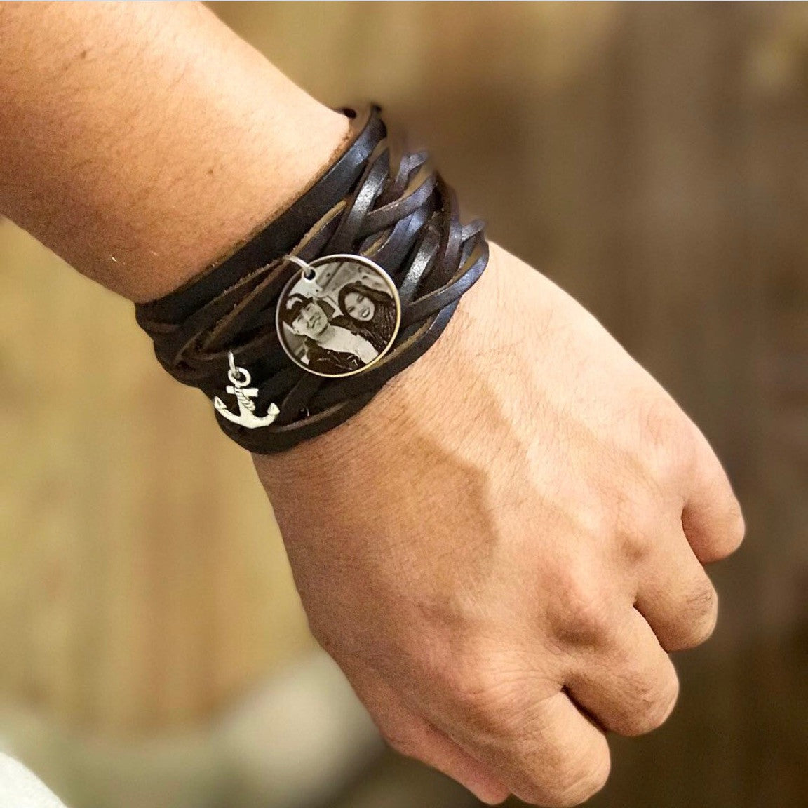 Unisex Brown Engraved Vintage Leather Wristband
