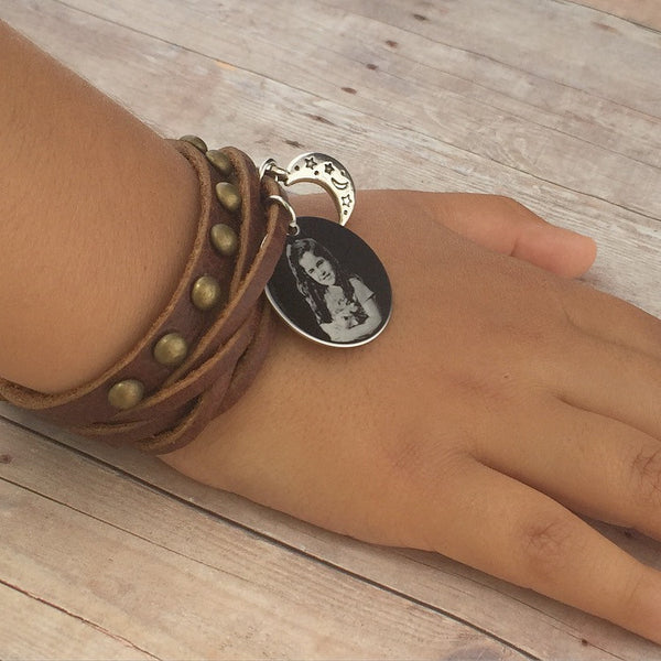 Custom Engraved Europe Style Leather Wristband