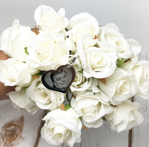 Double Sided Heart Bouquet Charm