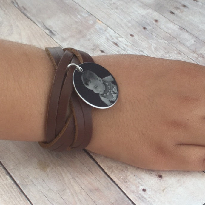 Custom Engraved Vintage Leather Wristband