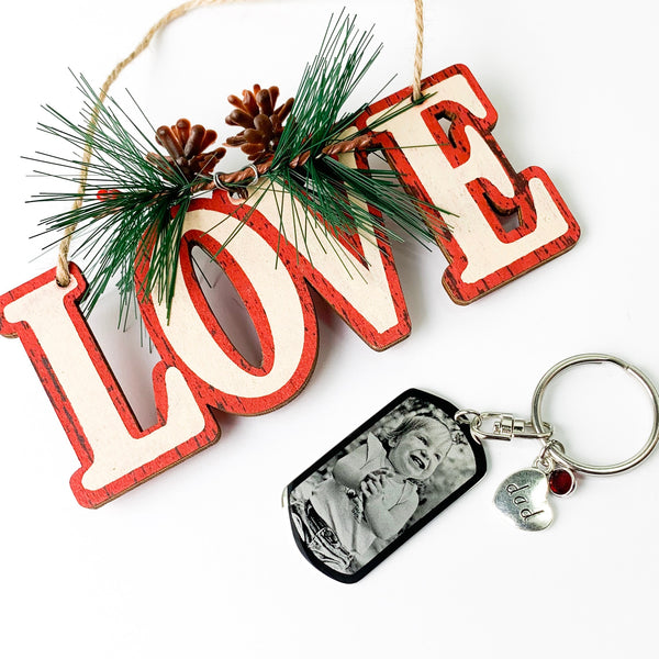 Custom Engraved Photo Dog Tag Keychain