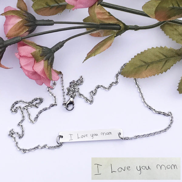 Handwritten Horizontal Bar Necklace