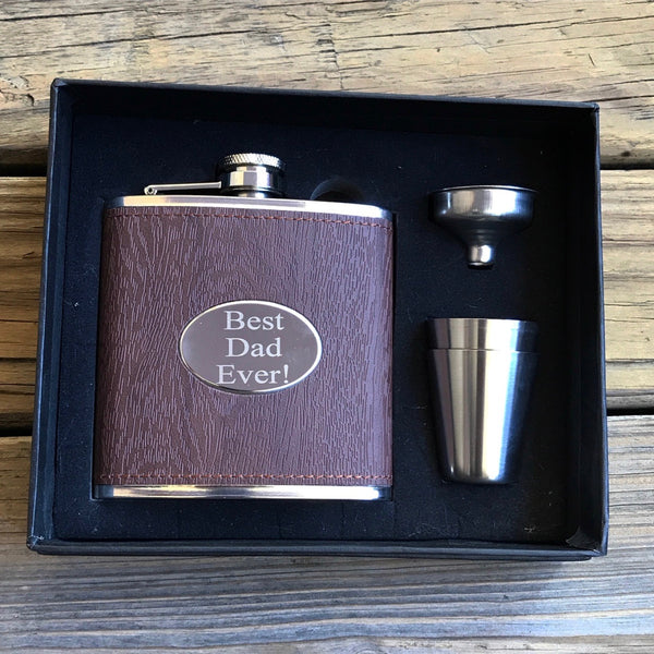 Wooden Leather Engraved Flask