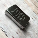 Personalized Zippo Brushed Chrome Pocket Lighter