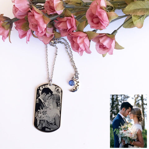Custom Engraved Photo Dog tag Necklace