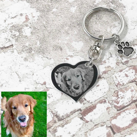 Custom Engraved Photo Heart Keychain