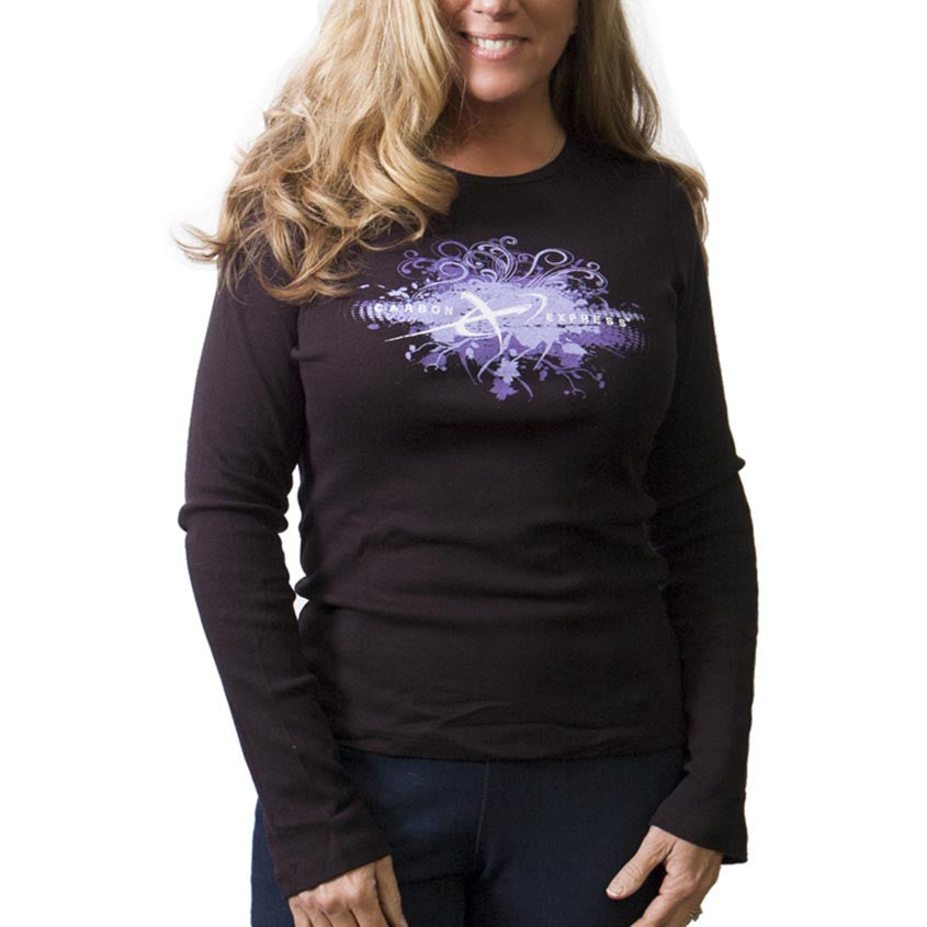 Women Carbon Express Long Sleeve T-Shirt With Purple Floral Design; Front