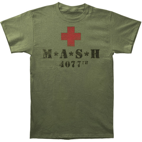M*A*S*H Men's  Red Cross Slim Fit T-shirt Green