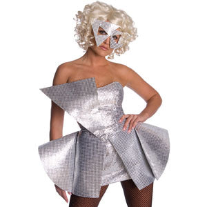 Lady Gaga Men's  Silver Sequin Dress Costume Grey