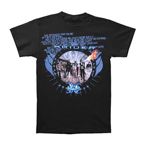 Hinder Men's  Black Flames Photo Tour T-shirt Black Rockabilia
