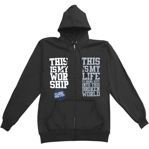 Close Your Eyes Men's  My Worship My Life Zippered Hooded Sweatshirt Black