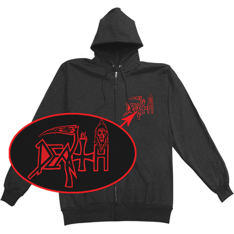 Death Men's  Individual Thought Patterns Zippered Hooded Sweatshirt Black