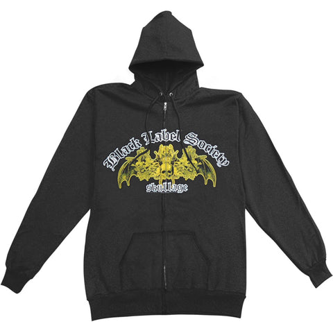 Black Label Society Men's  Skullage Zippered Hooded Sweatshirt Black