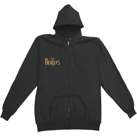 Beatles Men's  Gold Sgt Peppers Logo Zippered Hooded Sweatshirt Black