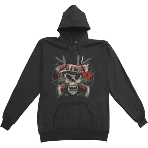 Guns N Roses Men's  Distress Tophat Hooded Sweatshirt Black