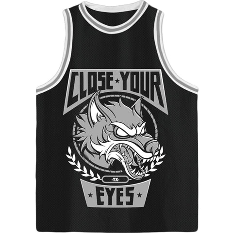 Close Your Eyes Men's  Wolves Basketball  Jersey Black