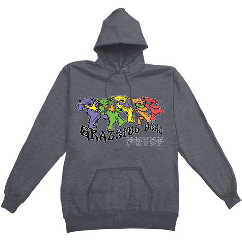 Grateful Dead Men's  Trippy Bears Hooded Sweatshirt Grey