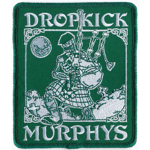 Dropkick Murphys Men's Skeleton Piper Embroidered Patch Green