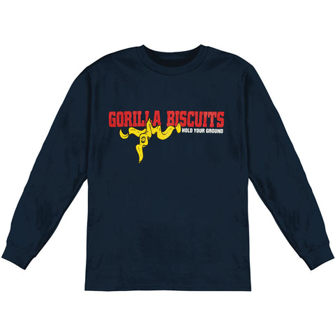 Gorilla Biscuits Men's  Hold Your Ground  Long Sleeve Navy