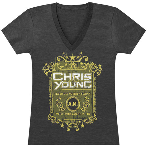 Chris Young  The Whole World's A Sleepin Tissue T Junior Top Heather Charcoal