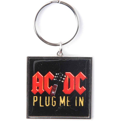 AC/DC Plug Me In Metal Key Chain Black