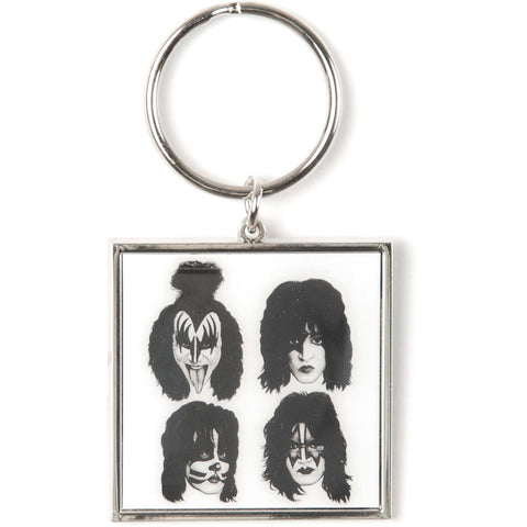 KISS Graphite Faces Metal Key Chain White