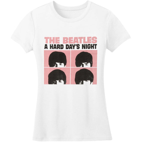 Beatles  A Hard Day's Night Pink Squares Junior Top White