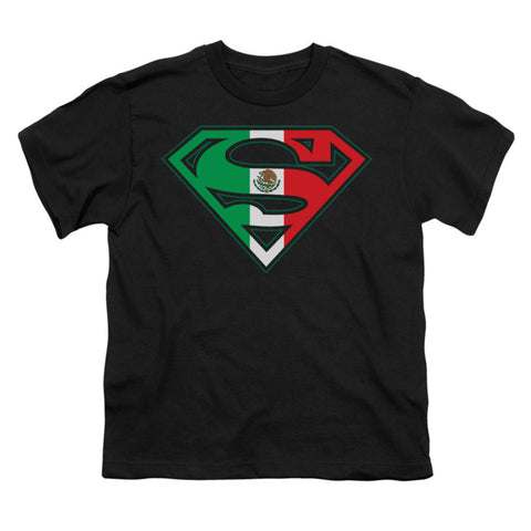 Superman Men's  Mexican Flag Shield Youth T-shirt Black