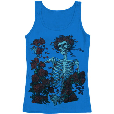Grateful Dead Women's  Skeleton And Roses Womens Tank Blue