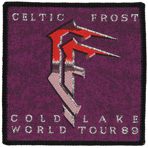 Celtic Frost Men's 1989 World Tour Purple Woven Patch Black