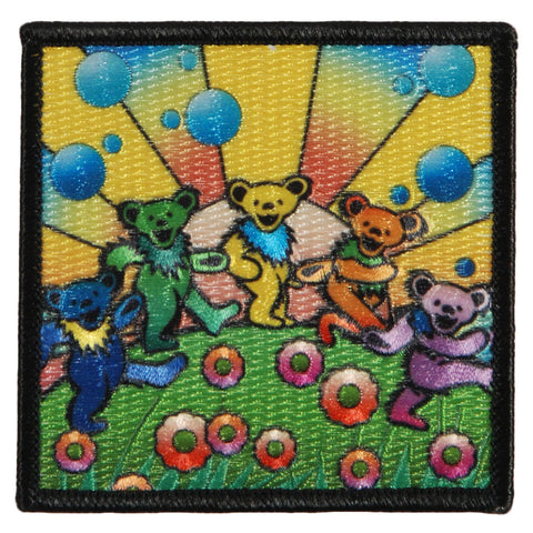 Grateful Dead Men's Bear Utopia Embroidered Patch Black