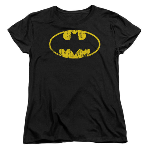 Batman  Classic Logo Distressed Girls Jr Black Rockabilia