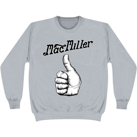 Mac Miller Men's  Script Logo Thumb Crew Fleece Sweatshirt Ash