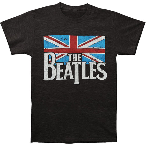 Beatles Men's  Distressed British Flag T-shirt Heather