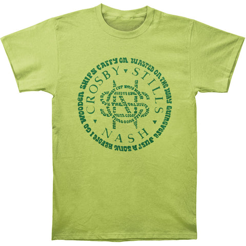 Crosby Stills Nash Young Men's  Songs Circle Logo Slim Fit T-shirt Lime