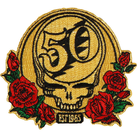 Grateful Dead Men's 50th Anniversary W/ Red & Green Roses Embroidered Patch Gold